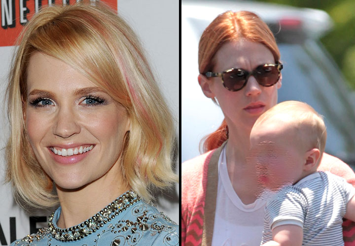 January Jones montage blonde rousse coloration