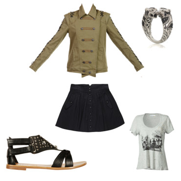 lOOK VESTE MILITAIRE MODE ROCK