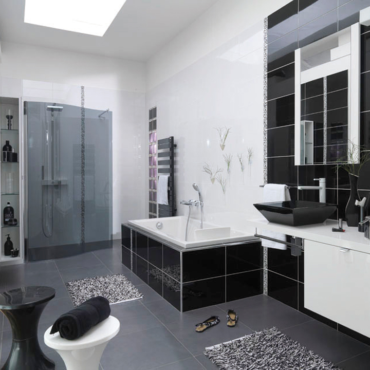 deco salle de bain gris et blanc. Black Bedroom Furniture Sets. Home Design Ideas