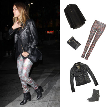 jessica alba total look rock pour le concert de madonna l a mode. Black Bedroom Furniture Sets. Home Design Ideas