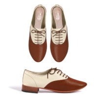 Derbies blanches pointe marron IDbyMe