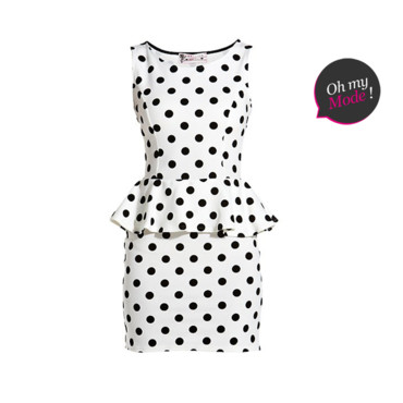 Robe péplum imprimé pois New Look 29,99 euros copie