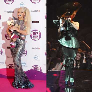 Lady Gaga en robe Paco Rabanne aux MTV European Awards 2011 à Londres