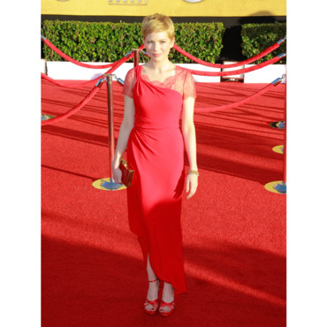 Michelle Williams et ses sandales rouges en satin