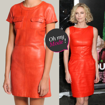 Orange Leather Dress Maje Charlize Theron
