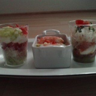 verrine multicolore au saumon
