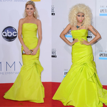 Nicki Minaj et Julie Bowen en robe fourreau fluo Monique Lhuillier
