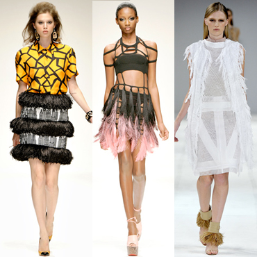 Défilé été 2011 tendance plumes Holly Fulton Mark Fast Pringle of Scotland