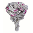 BAGUE BAGATELLE OR BLANC DIAMANTS SAPHIRS ROSES