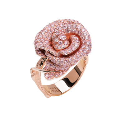 BAGUE BAGATELLE PETIT MODELE OR ROSE ET DIAMANTS ROSES