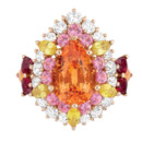BAGUE DEAR DIOR OR ROSE DIAMANTS GRENATS SPESSARTITES RUBIS SAPHIRS JAUNES ET SAPHIRS ROSES