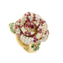 BAGUE ROSE DIOR BAGATELLE OR JAUNE DIAMANTS RUBIS ET EMERAUDES