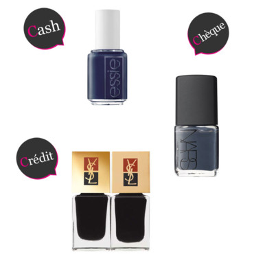 CCC vernis à ongles anthracites Essie Nars Yves Saint Laurent