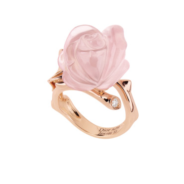 BAGUE ROSE DIOR PRE CATELAN PETIT MODELE EN OR ROSE DIAMANT ET QUARTZ ROSE