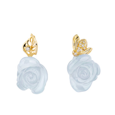 BOUCLES D OREILLES ROSE DIOR PRE CATELAN EN OR JAUNE DIAMANTS ET CALCEDOINE