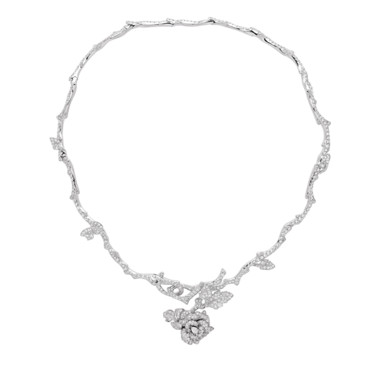 COLLIER ROSE DIOR BAGATELLE OR BLANC DIAMANTS