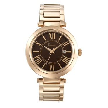 Montre Cortina chocolat sur bracelet plaqué or rose - Freelook - 199 euros