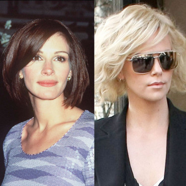 match beauté Julia Roberts Charlize Theron carré court