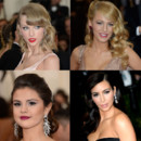 "Taylor Swift, Blake Lively, Selena Gomez et Kim Kardashian, lors du au Met Gala 2014, pour l'ouverture de l'exposition ""Charles James : Beyond Fashion"" à New York."