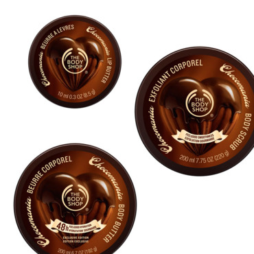 The body Shop collection chocomania beurre corporel 15e baume lèvres 5e et exfoliant corporel 13 e