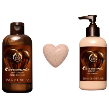 The Body Shop Chocomania creme de douche 5e savon coeur 3e lait corporel 10e