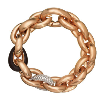 Bracelet Acrobate Hermès - or rose, diamants bruns et jade -