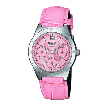 Montre Casio bracelet cuir rose