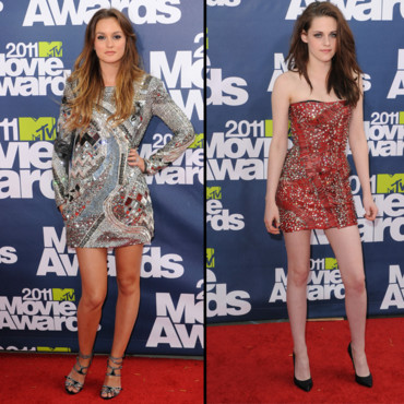 Leighton Meester et Kristen Stewart aux MTV Movie Awards