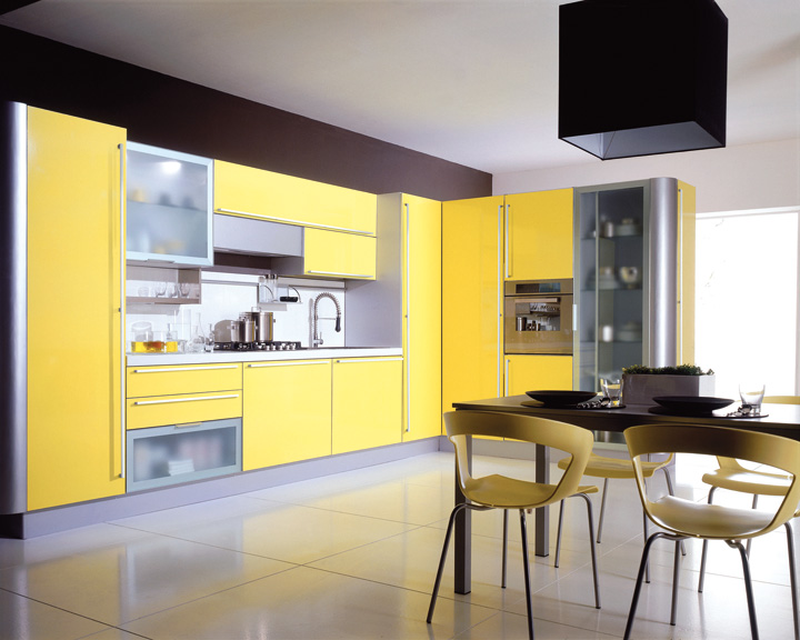 finest la couleur jaune with cuisine moderne jaune. Black Bedroom Furniture Sets. Home Design Ideas