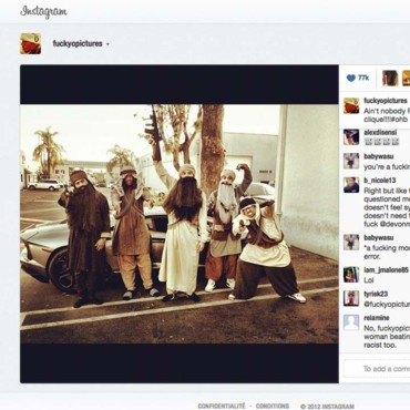 Capture écran sur le site Instagram : Chris Brown le 31 octobre 2012 à l'occasion d'Halloween.