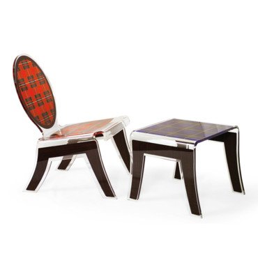La chaise et la table Tartan Acrila