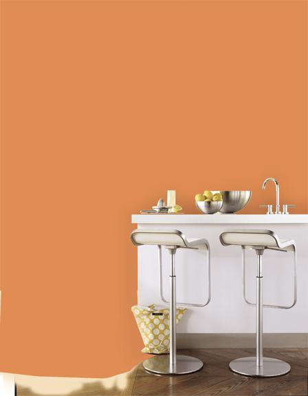 D co cuisine peinture orange for Deco cuisine orange