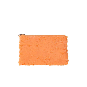 La pochette orange à sequins Zara 30 euros