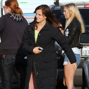 Emma Watson cheveux longs sur le tournage de The Bling Ring LA mars 2012