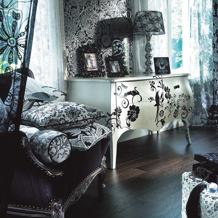 customiser des meubles avec des pochoirs astuces d co. Black Bedroom Furniture Sets. Home Design Ideas