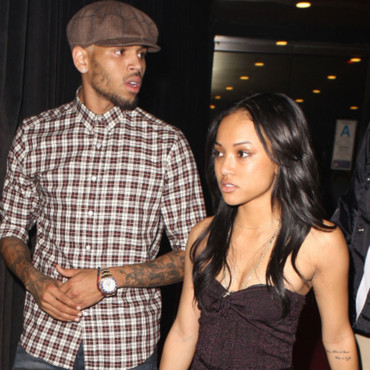 Chris Brown et sa copine Karrueche Tran pris en photo, sortant d'une fête à Hollywood, Los Angeles, CA, USA le 29 août 2012.