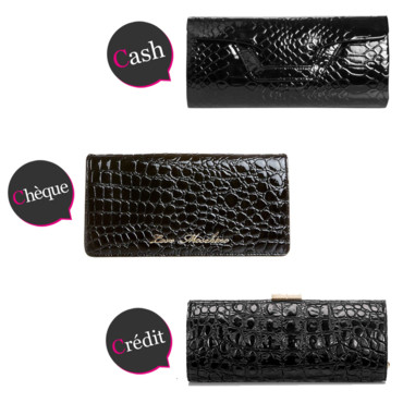 Cash Cheque Credit Pochette croco vernie