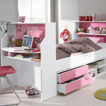 lit combine bureau fille lit combin charlemagne 90x200 acacia blanc achat un gain de place. Black Bedroom Furniture Sets. Home Design Ideas