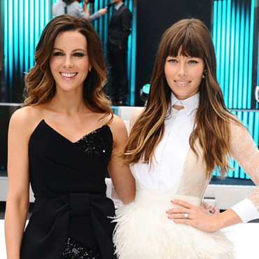 Kate Beckinsal et Jessica Alba tie and dye eye-liner avant-première Total Recall Londres août 2012