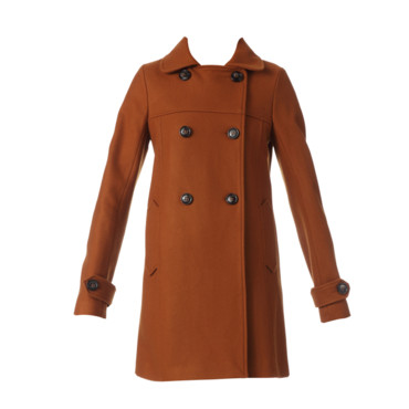 Le manteau couleur rouille Sessun 185 euros chez Monshowroom