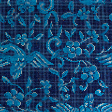 Papier peint Bisazza China birds blue