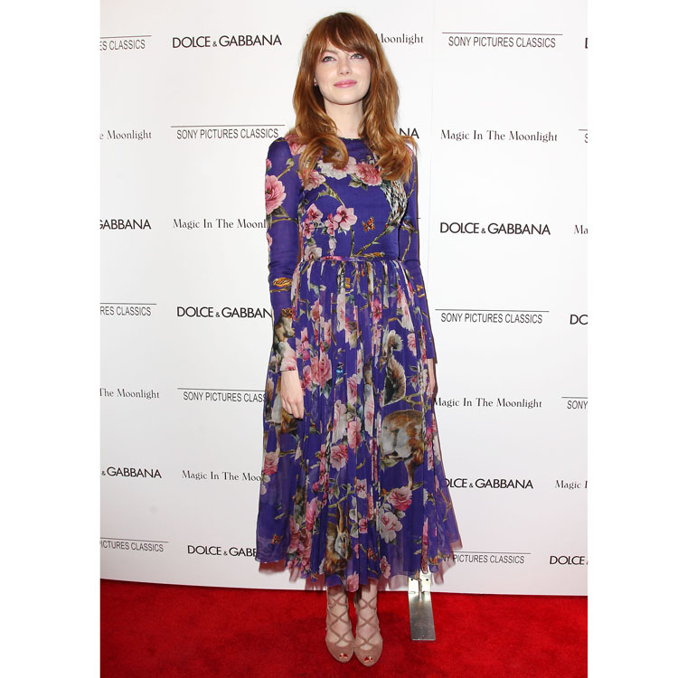 Emma Stone en Dolce et Gabbana pour la première de Magic in the Moonlight à New York le 17 juillet 2014
