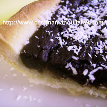 Tarte banane chocolat sur double croute coco-double coconut crust pie