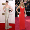 Anne Hathaway vs Jennifer Lawrence - La robe à bretelles
