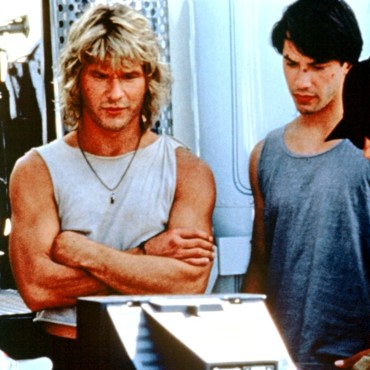 Patrick Swayze et Keanu Reeves sur le tournage de Point Break