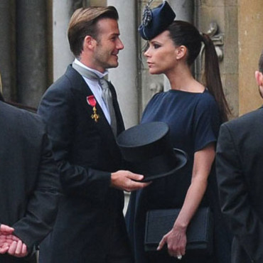 Victoria et David Beckham au mariage du prince William et de Kate Middleton, avril 2011.