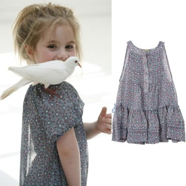 Mode printemps-été fille : la robe Liberty bleue TroiZenfantS