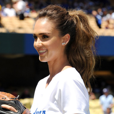 Jessica Alba au match baseball Dodgers Los Angeles 17 aout 2014