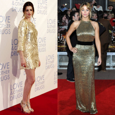 Anne Hathaway vs Jennifer Lawrence - La robe dorée