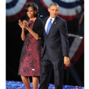Michelle Obama en robe Michael Kors lors de la réélection de son mari en 2012
